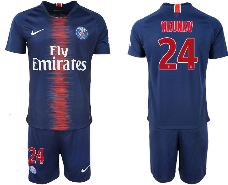 Men 2018-2019 club Paris St Germain home 24 blue soccer jersey