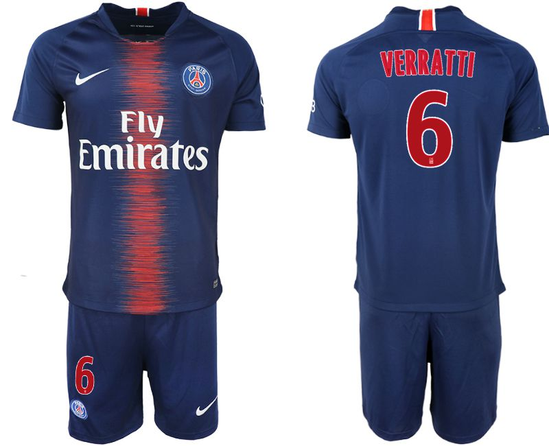 Men 2018-2019 club Paris St Germain home 6 blue soccer jersey