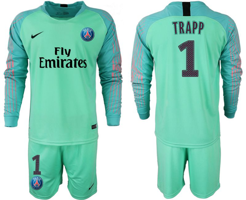 Men 2018-2019 club Paris saint germain green goalkeeper long sleeve 1 soccer jersey