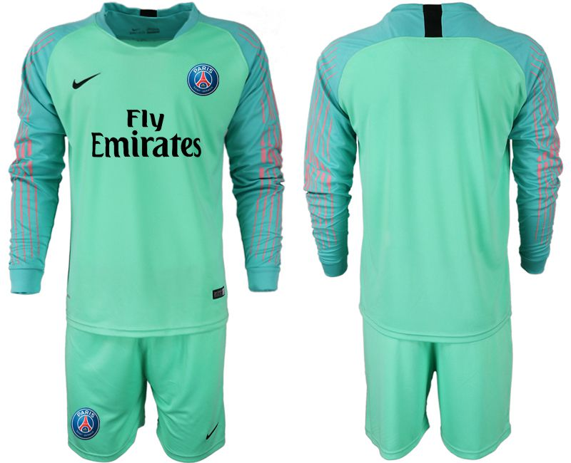 Men 2018-2019 club Paris saint germain green goalkeeper long sleeve soccer jersey