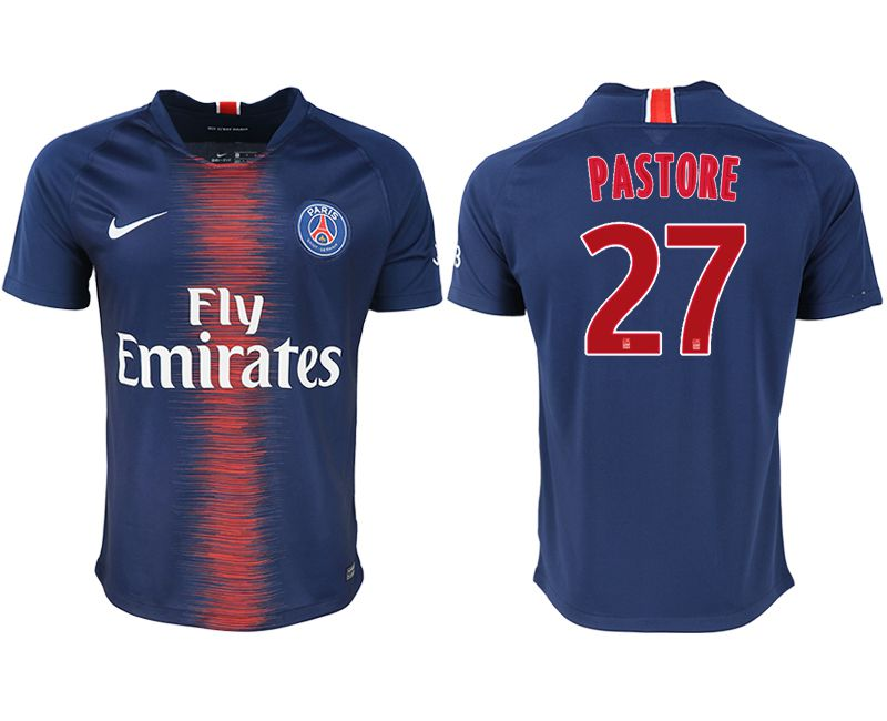 Men 2018-2019 club Paris saint germain home aaa version 27 blue soccer jersey