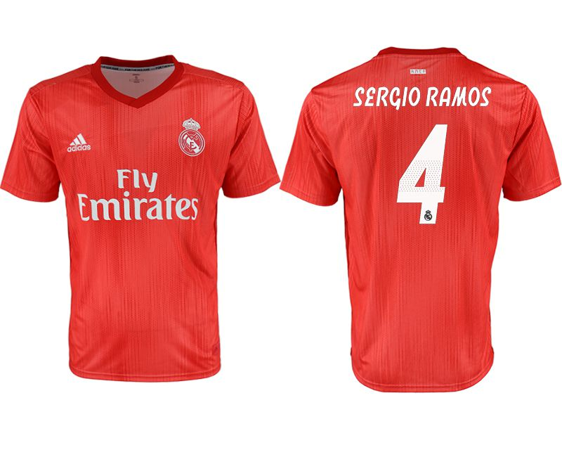 Men 2018-2019 club Real Madrid away aaa version 4 red soccer jersey