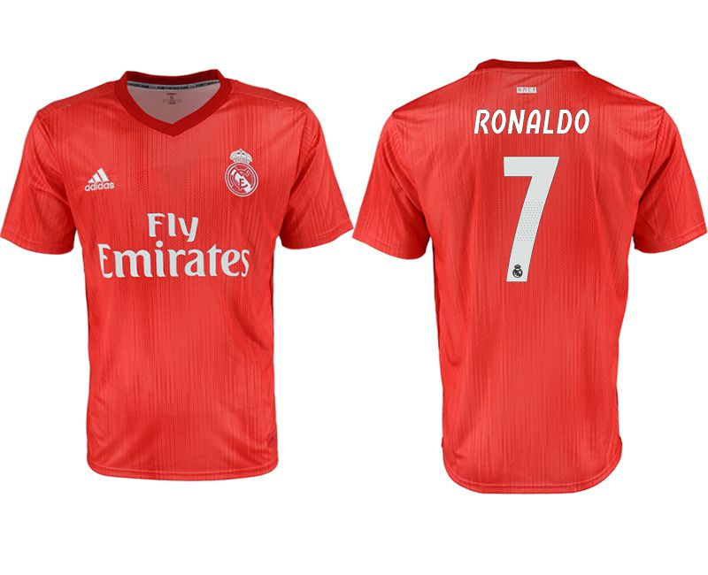 Men 2018-2019 club Real Madrid away aaa version 7 red soccer jersey
