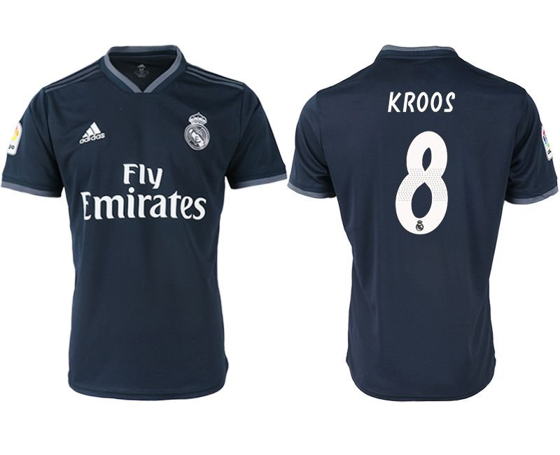 Men 2018-2019 club Real Madrid away aaa version 8 black soccer jersey