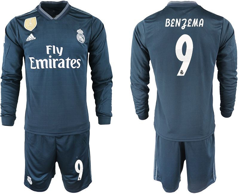 Men 2018-2019 club Real Madrid away long sleeve 9 blue soccer jersey