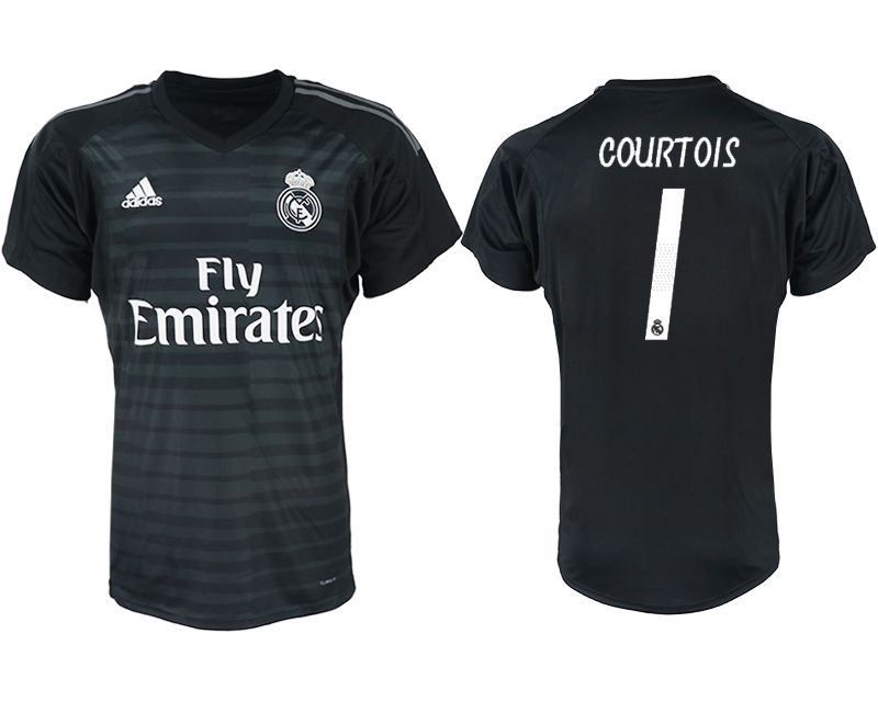Men 2018-2019 club Real Madrid black goalkeeper aaa version 1 soccer jersey1