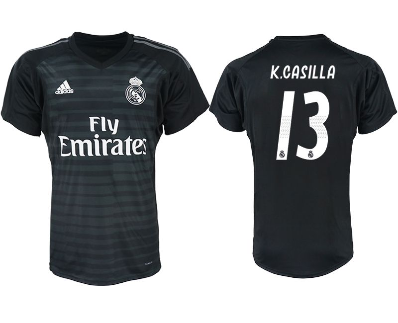 Men 2018-2019 club Real Madrid black goalkeeper aaa version 13 soccer jersey
