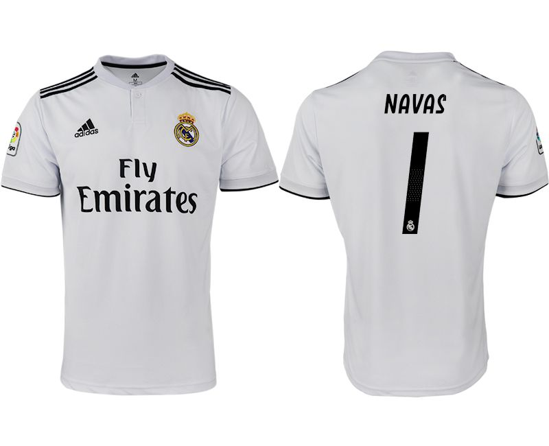 Men 2018-2019 club Real Madrid home aaa version 1 white soccer jersey