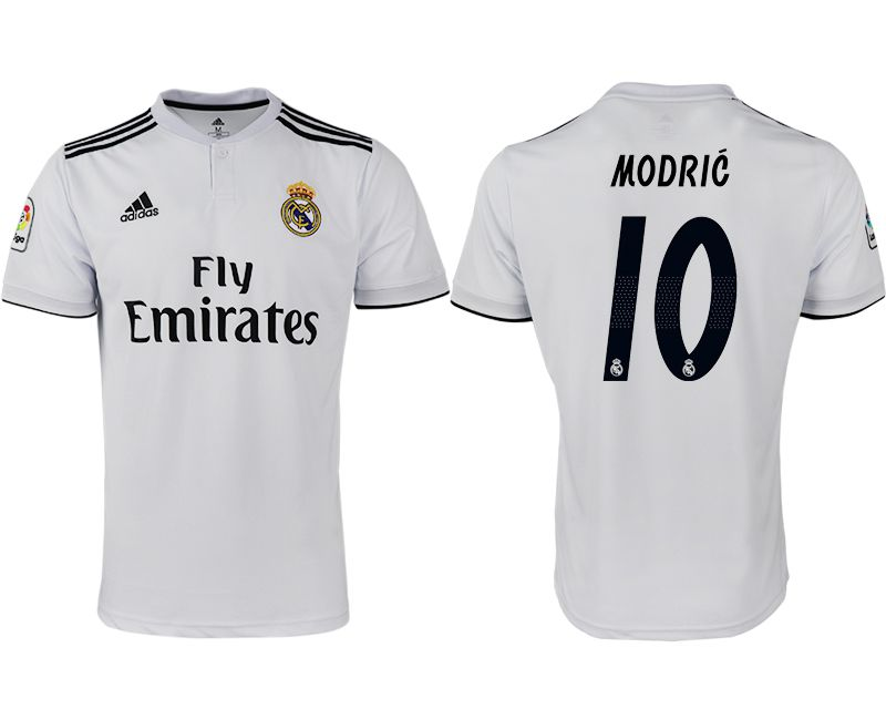 Men 2018-2019 club Real Madrid home aaa version 10 white soccer jersey