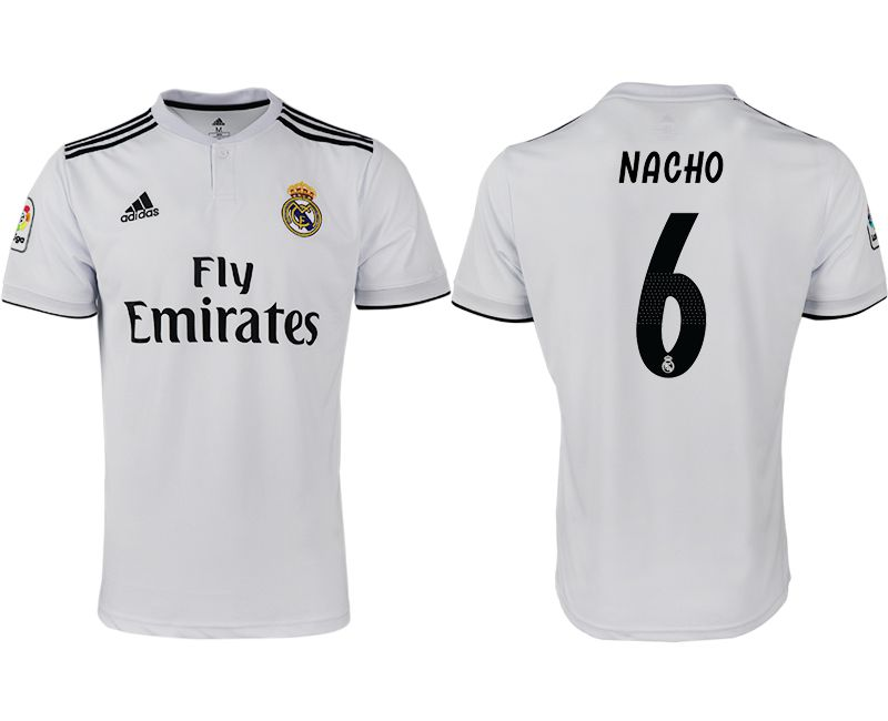 Men 2018-2019 club Real Madrid home aaa version 6 white soccer jersey