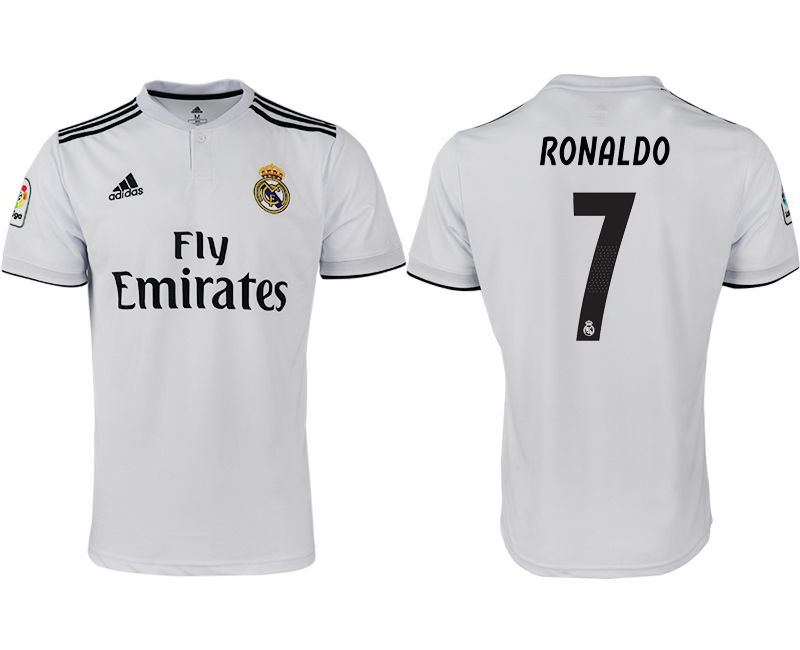Men 2018-2019 club Real Madrid home aaa version 7 white soccer jersey