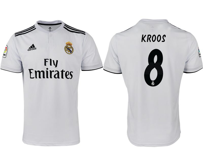 Men 2018-2019 club Real Madrid home aaa version 8 white soccer jersey