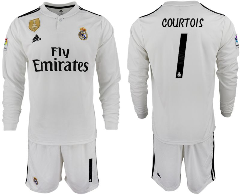 Men 2018-2019 club Real Madrid home long sleeve 1 white soccer jersey1