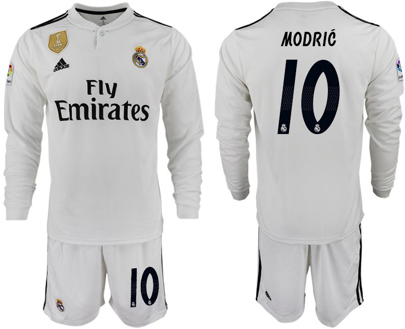 Men 2018-2019 club Real Madrid home long sleeve 10 white soccer jersey