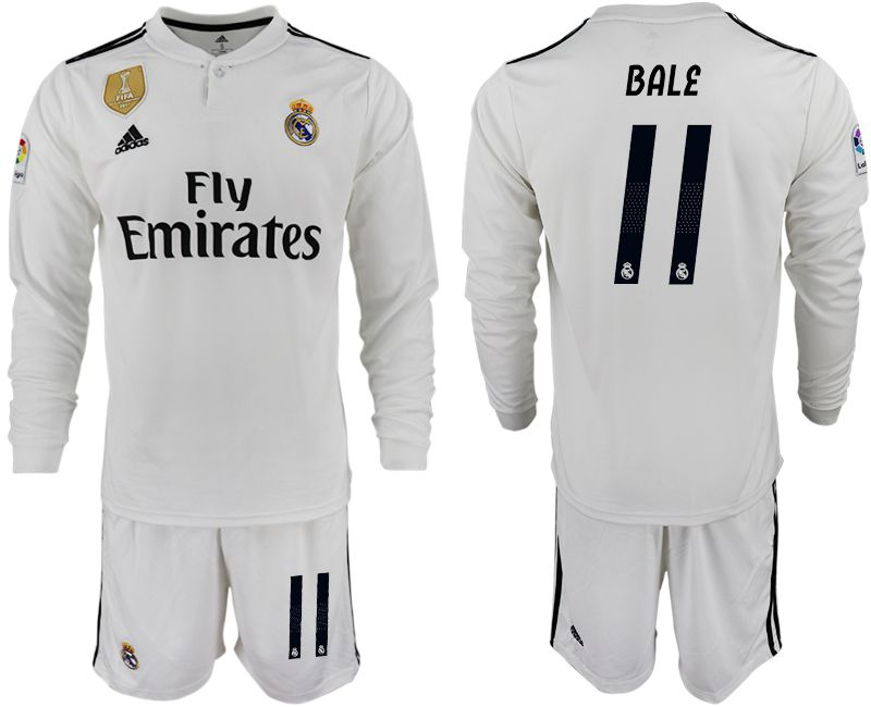 Men 2018-2019 club Real Madrid home long sleeve 11 white soccer jersey