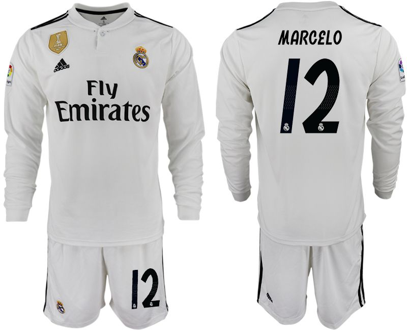Men 2018-2019 club Real Madrid home long sleeve 12 white soccer jersey