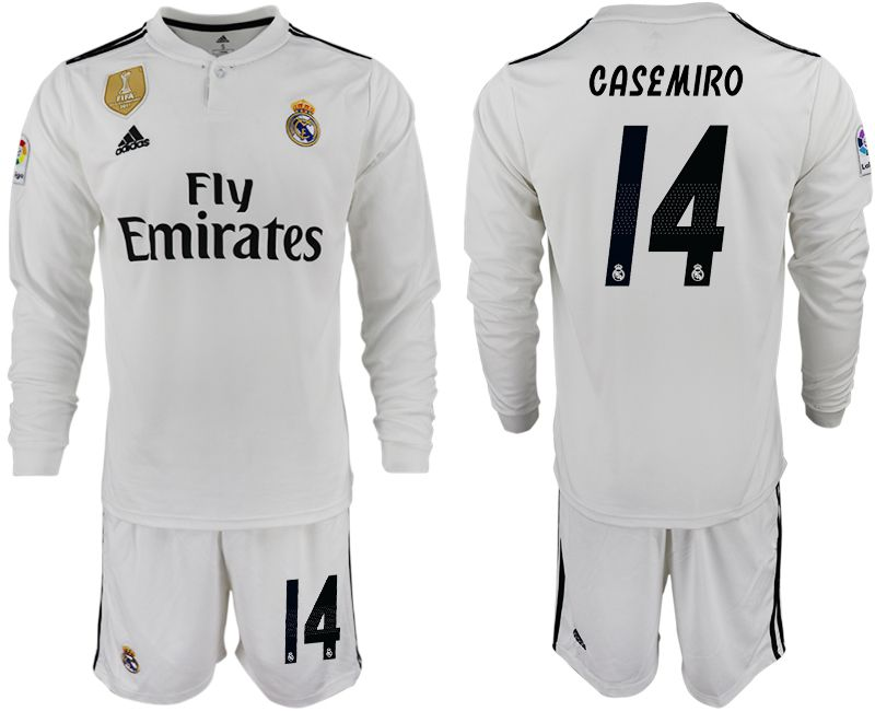 Men 2018-2019 club Real Madrid home long sleeve 14 white soccer jersey
