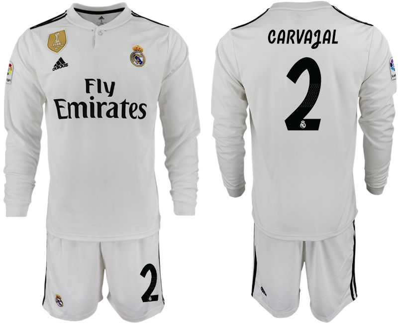Men 2018-2019 club Real Madrid home long sleeve 2 white soccer jersey