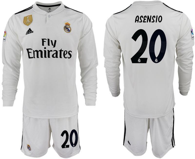 Men 2018-2019 club Real Madrid home long sleeve 20 white soccer jersey