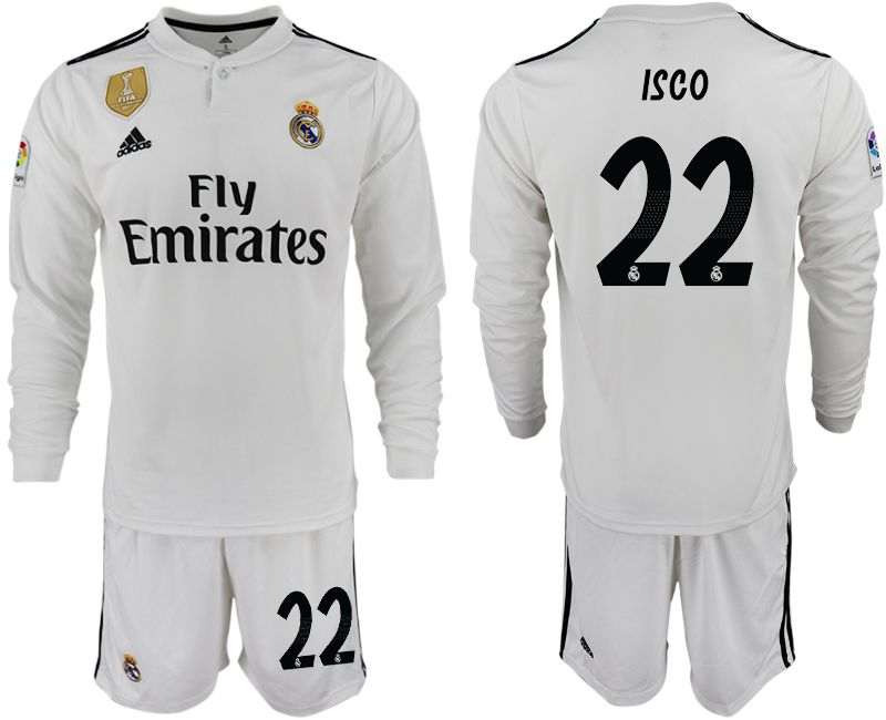 Men 2018-2019 club Real Madrid home long sleeve 22 white soccer jersey