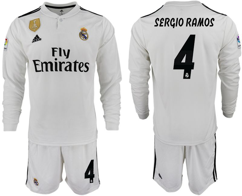 Men 2018-2019 club Real Madrid home long sleeve 4 white soccer jersey