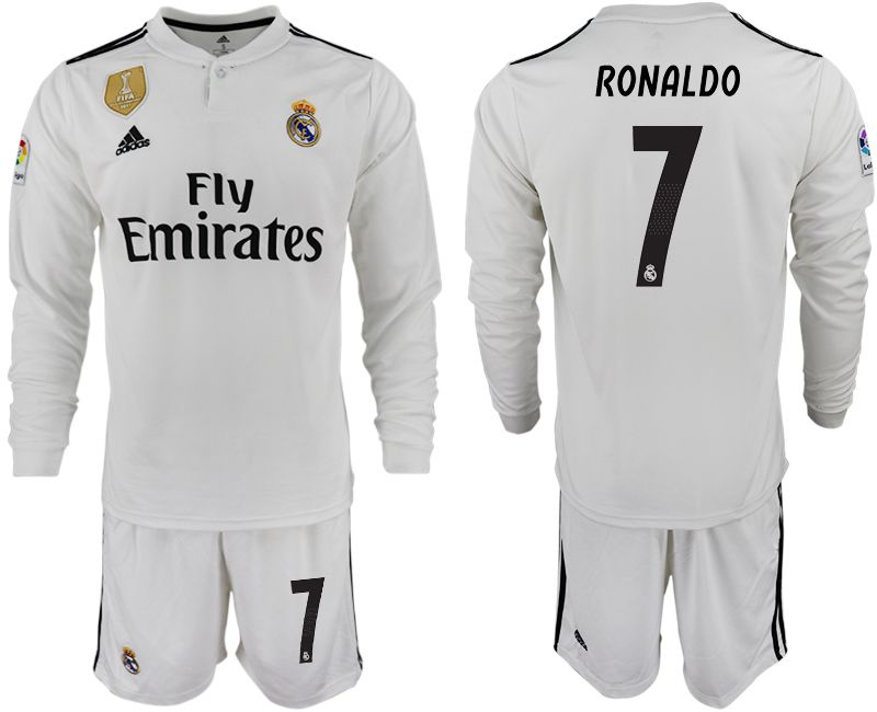 Men 2018-2019 club Real Madrid home long sleeve 7 white soccer jersey