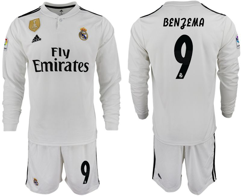 Men 2018-2019 club Real Madrid home long sleeve 9 white soccer jersey