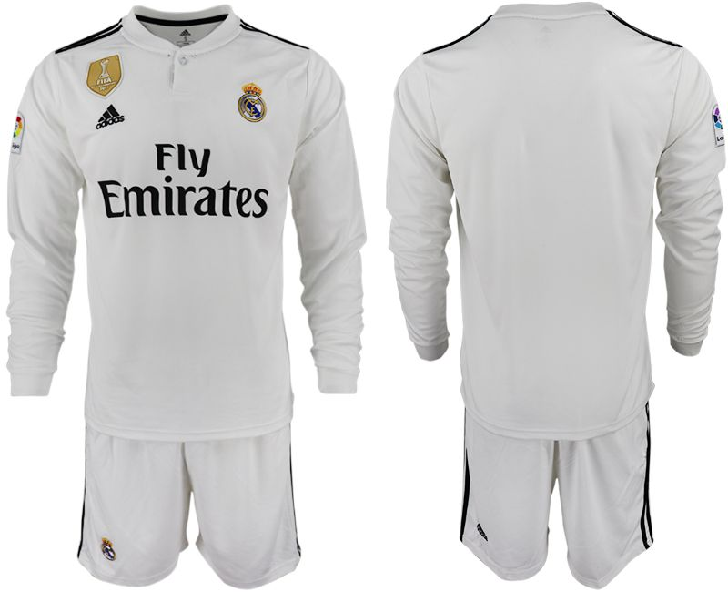Men 2018-2019 club Real Madrid home long sleeve white soccer jersey