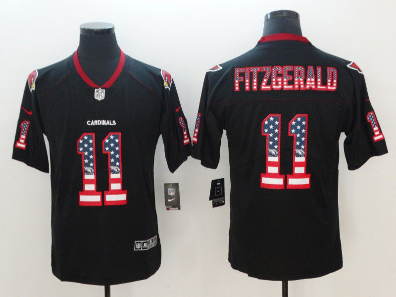 Men Arizona Cardinals 11 Fitzgerald Nike USA Flag Fashion Black Color Rush Limited NFL Jerseys