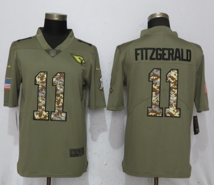 Men Arizona Cardinals 11 Fitzgerald Olive Camo Carson 2017 Salute to Service Limited Nike NFL Jerseys