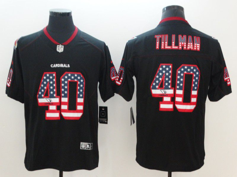 Men Arizona Cardinals 40 Tillman Nike USA Flag Fashion Black Color Rush Limited NFL Jerseys