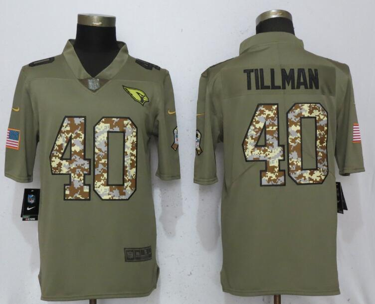 Men Arizona Cardinals 40 Tillman Olive Camo Carson 2017 Salute to Service Limited Nike NFL Jerseys