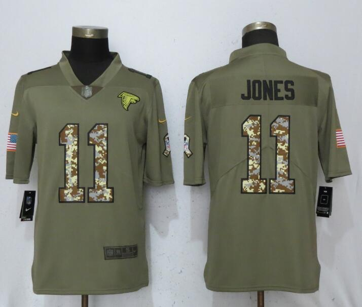 Men Atlanta Falcons 11 Jones Olive Camo Carson 2017 Salute to Service Limited Nike NFL Jerseys