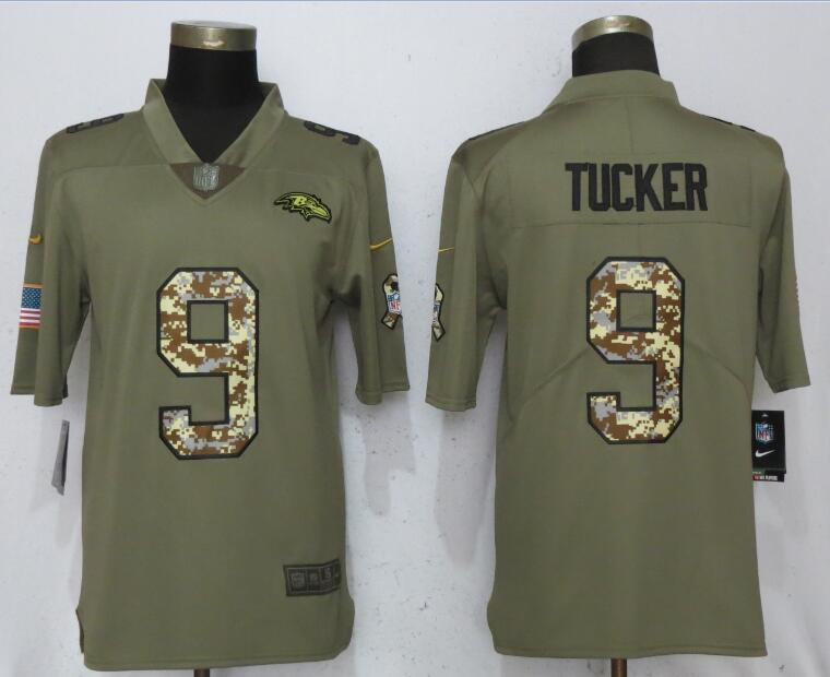 Men Baltimore Ravens 9 Tucker Olive Camo Carson 2017 Salute to Service Limited Nike NFL Jerseys