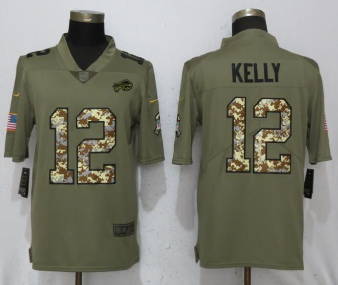 Men Buffalo Bills 12 Kelly Olive Camo Carson 2017 Salute to Service Limited Nike NFL Jerseys