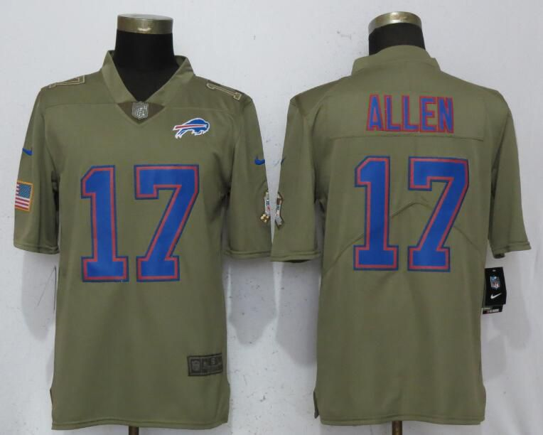 Men Buffalo Bills 17 Allen Grey Nike Olive Salute To Service Limited NFL Jerseys