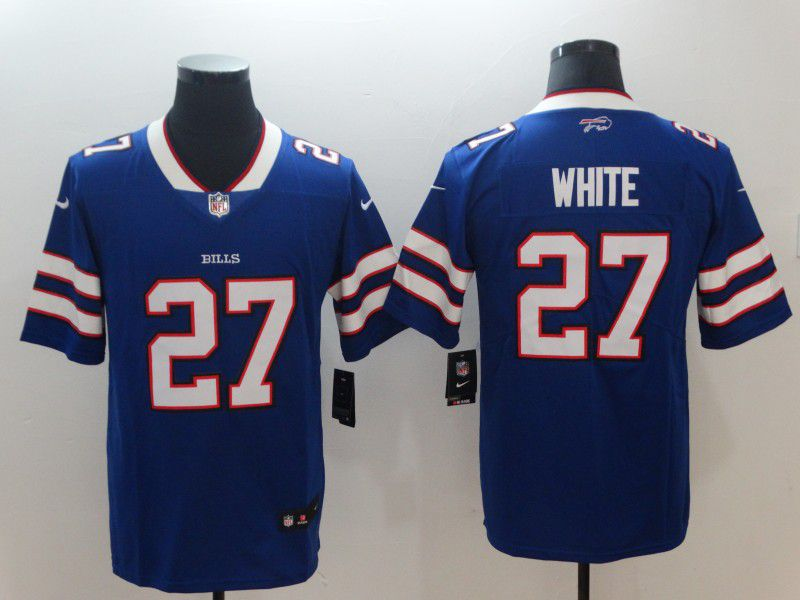 Men Buffalo Bills 27 White Blue Nike Vapor Untouchable Limited NFL Jerseys