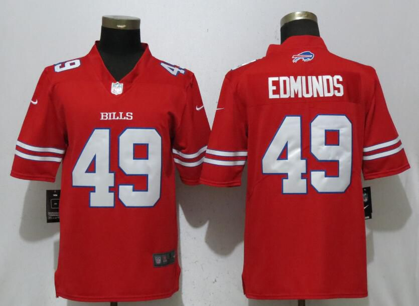 Men Buffalo Bills 49 Edmunds Navy Red Nike Color Rush Limited NFL Jerseys