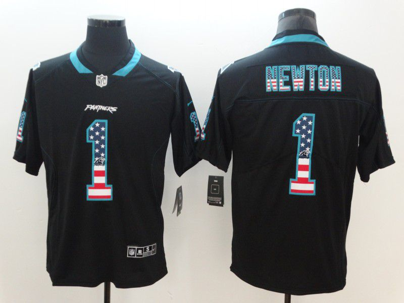 Men Carolina Panthers 1 Newton Nike USA Flag Fashion Black Color Rush Limited NFL Jerseys