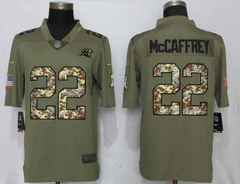 Men Carolina Panthers 22 McCaffrey Olive Camo Carson 2017 Salute to Service Limited Nike NFL Jerseys