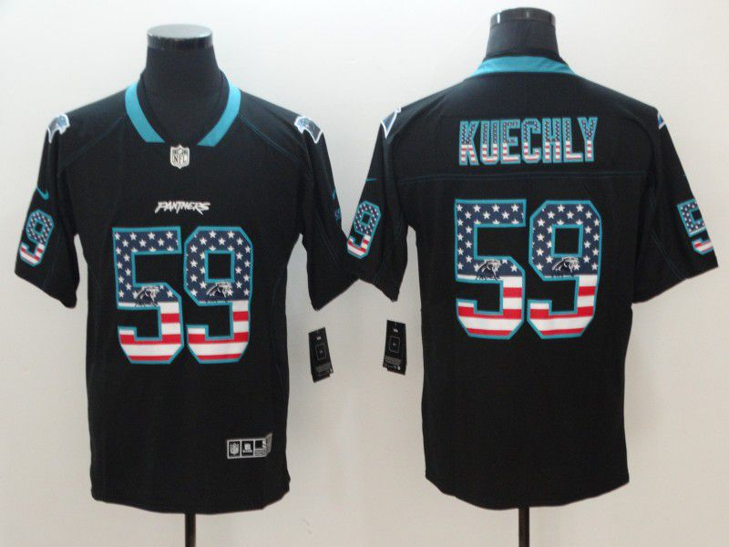 Men Carolina Panthers 59 Kuechly Nike USA Flag Fashion Black Color Rush Limited NFL Jerseys