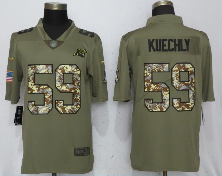 Men Carolina Panthers 59 Kuechly Olive Camo Carson 2017 Salute to Service Limited Nike NFL Jerseys