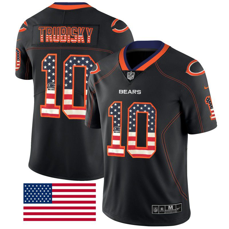 Men Chicago Bears 10 Trubisky Nike USA Flag Fashion Black Color Rush Limited NFL Jerseys