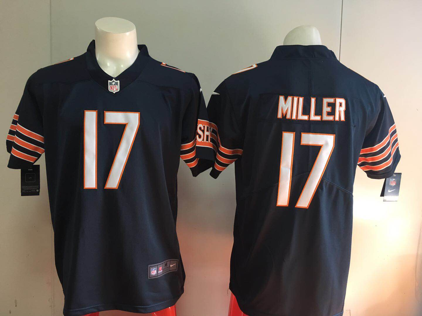 Men Chicago Bears 17 Miller Blue Nike 2018 NFL Draft Pick Game Jersey