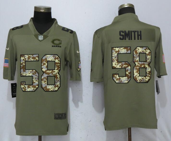 Men Chicago Bears 58 Smith Olive Camo Carson 2017 Salute to Service Limited Nike NFL Jerseys