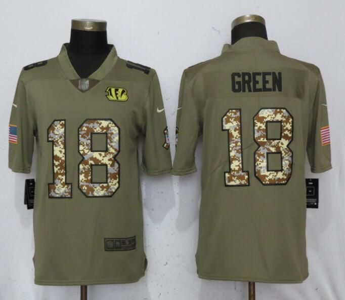 Men Cincinnati Bengals 18 Green Olive Camo Carson Nike Salute to Service Limited NFL Jerseys