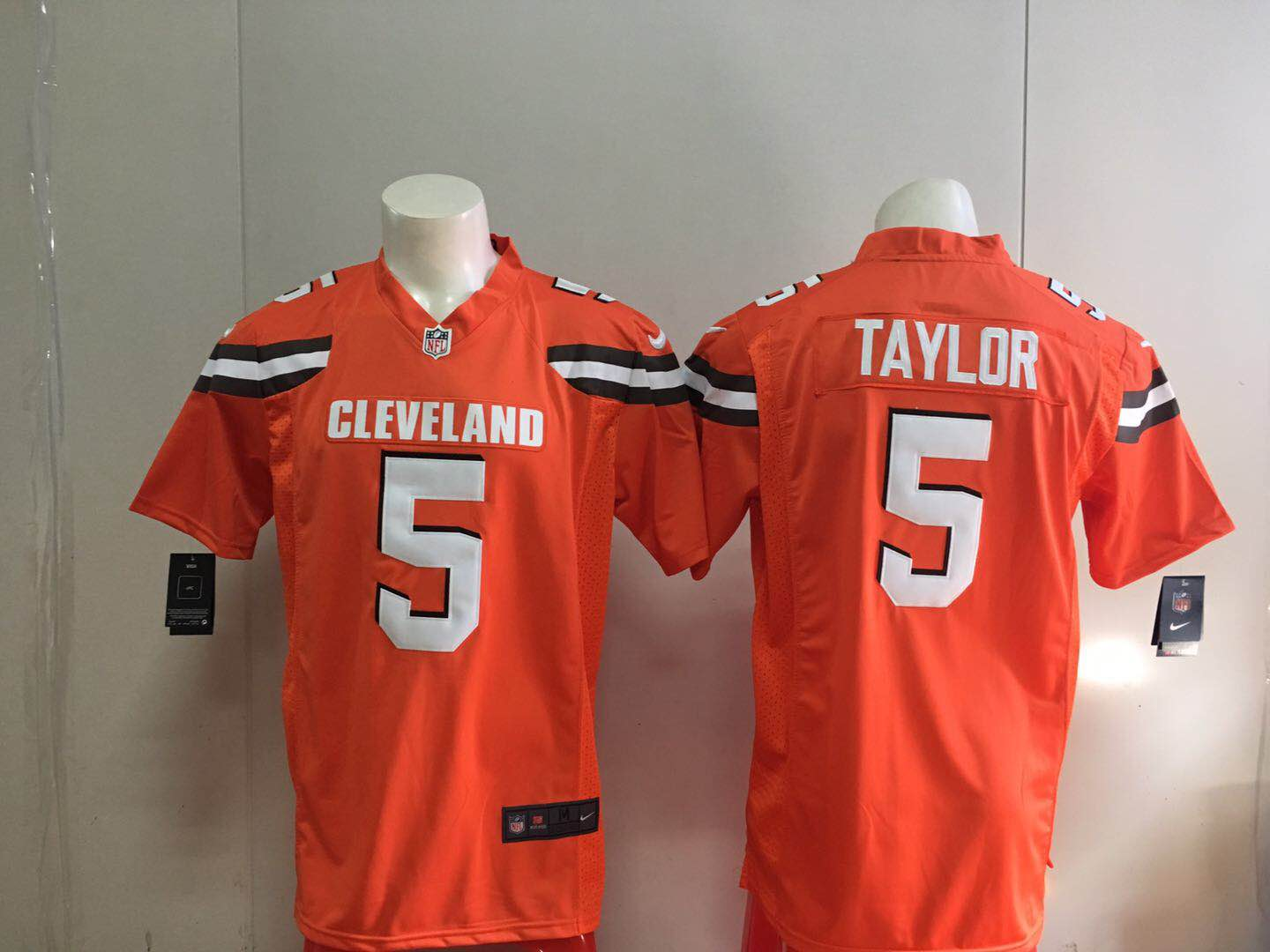 Men Cleveland Browns 5 Taylor Orange Nike 2018 NFL Draft Pick Game Jersey