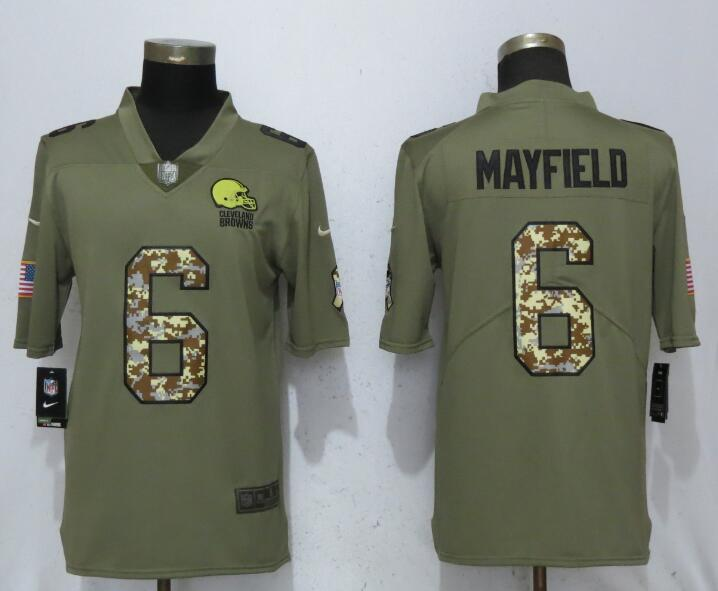 Men Cleveland Browns 6 Mayfield Olive Camo Carson 2017 Salute to Service Limited Nike NFL Jerseys