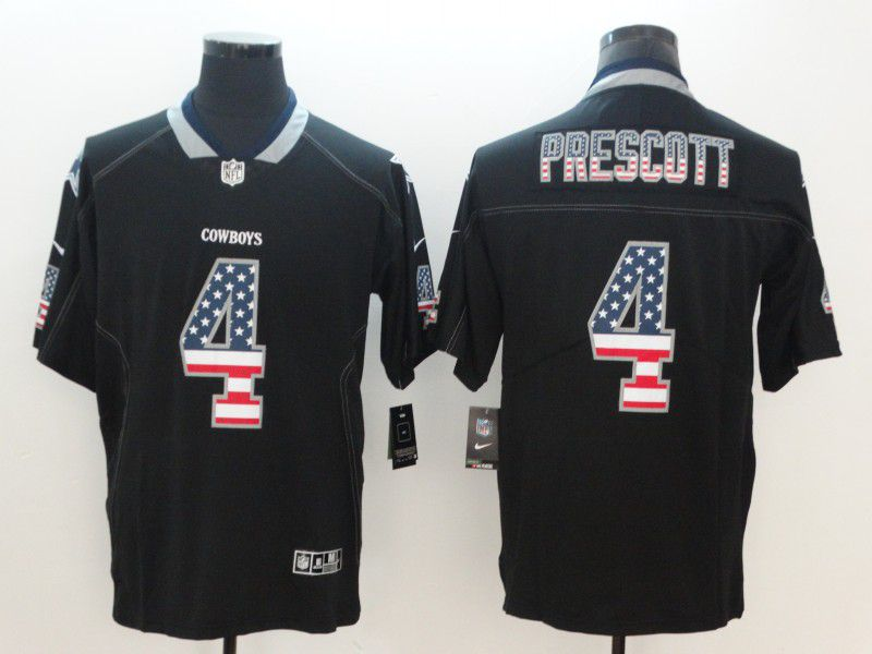 Men Dallas cowboys 4 Prescott Nike USA Flag Fashion Black Color Rush Limited NFL Jerseys