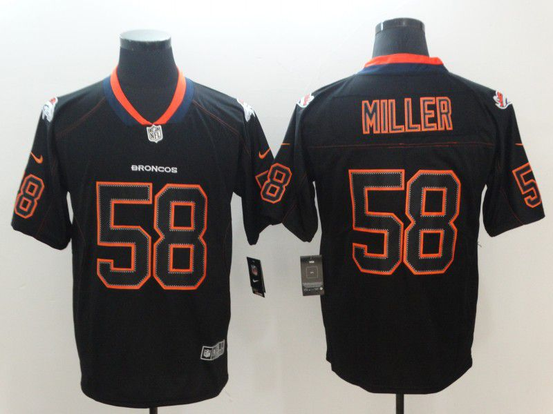 Men Denver Broncos 58 Miller Nike Lights Out Black Color Rush Limited NFL Jerseys